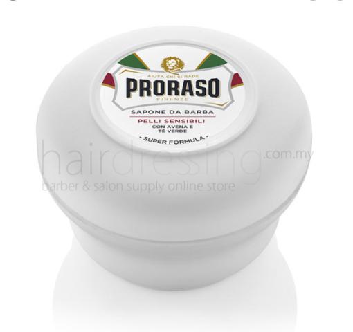 Proraso White Shaving Soap In A Bowl 150ml - For Sensitive Skin (Green Tea & Oat)